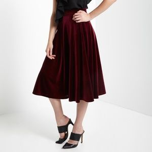 Skirts - ❗️SOLD❗Burgundy High-Waist Velvet Flare Midi Skirt